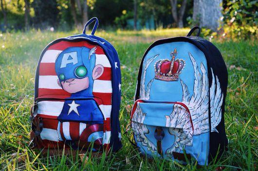 Рюкзаки ручной работы. Ярмарка Мастеров - ручная работа. Купить Рюкзак Маленький Капитан Америка и Крылья. Handmade. Рюкзак