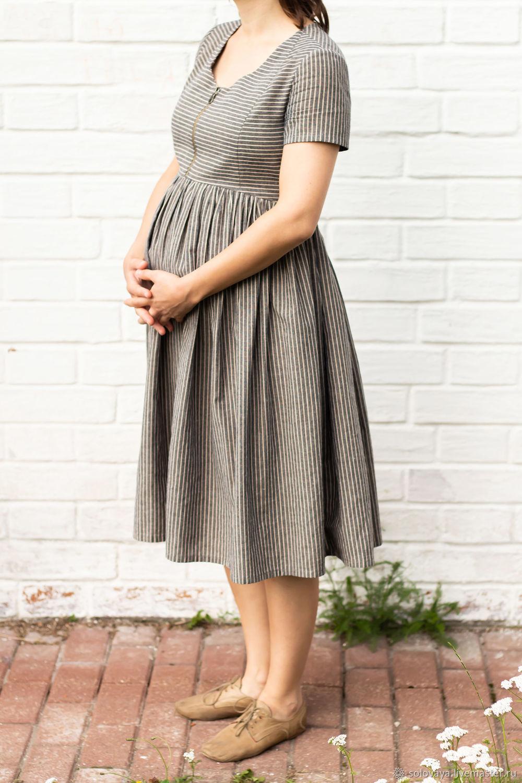 Платья ручной работы. Ярмарка Мастеров - ручная работа. Купить Платье для беременных из хлопка в полоску. Handmade. Одежда для беременных