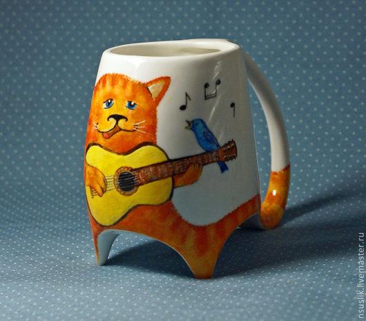 """Кружки и чашки ручной работы. Ярмарка Мастеров - ручная работа. Купить Кружка """"Кот с гитарой"""". Handmade. Рыжий, музыкант, музыка"""
