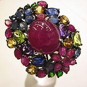 Кольцо серебряное с рубинами, сапфирами.