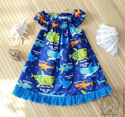 Одежда для девочек, ручной работы. Ярмарка Мастеров - ручная работа. Купить Акулы атакуют! летнее платье для девочки. Handmade.