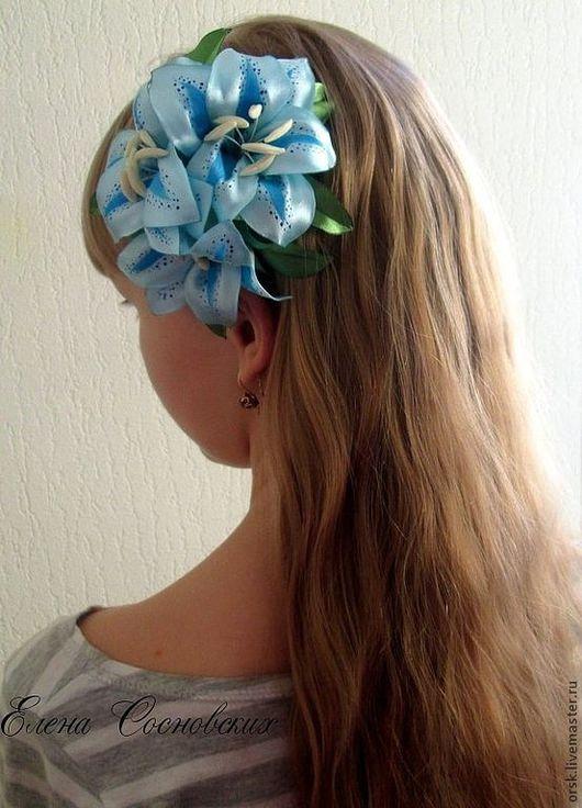 Диадемы, обручи ручной работы. Ярмарка Мастеров - ручная работа. Купить Голубые лилии на греческой повязке. Handmade. Голубой