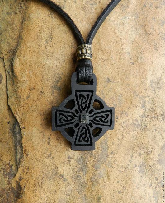 Обереги, талисманы, амулеты ручной работы. Ярмарка Мастеров - ручная работа. Купить Кельтский крест Резьба по камню Кулон из шунгита. Handmade.