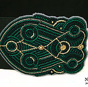 Аксессуары handmade. Livemaster - original item Beaded elastic belt dark green emerald gold embroidery. Handmade.