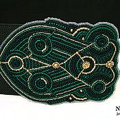 Аксессуары ручной работы. Ярмарка Мастеров - ручная работа Широкий пояс резинка вышитый темно зеленый изумрудный золотой. Handmade.