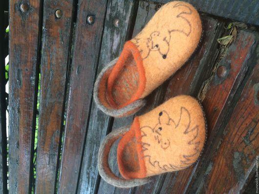 Обувь ручной работы. Ярмарка Мастеров - ручная работа. Купить Ежищи Мужские. Handmade. Рыжий, домашние тапочки, ежик