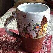 """Посуда ручной работы. Ярмарка Мастеров - ручная работа Кружка """"Город с птицей"""". Handmade."""