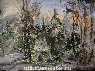 """Пейзаж ручной работы. Ярмарка Мастеров - ручная работа. Купить Картина """"Зимний лес"""". Handmade. Лес, зимний пейзаж"""