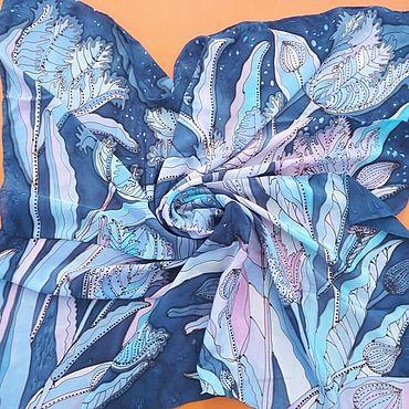 Аксессуары ручной работы. Ярмарка Мастеров - ручная работа Платки: Синие тюльпаны. Handmade.