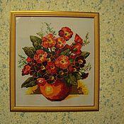 Картины и панно ручной работы. Ярмарка Мастеров - ручная работа Натюрморт  с красными цветами. Handmade.
