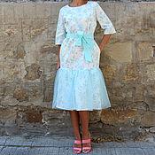 Одежда ручной работы. Ярмарка Мастеров - ручная работа Цветочное, голубое, элегантное  макси, плиссе, тюль платье. Handmade.