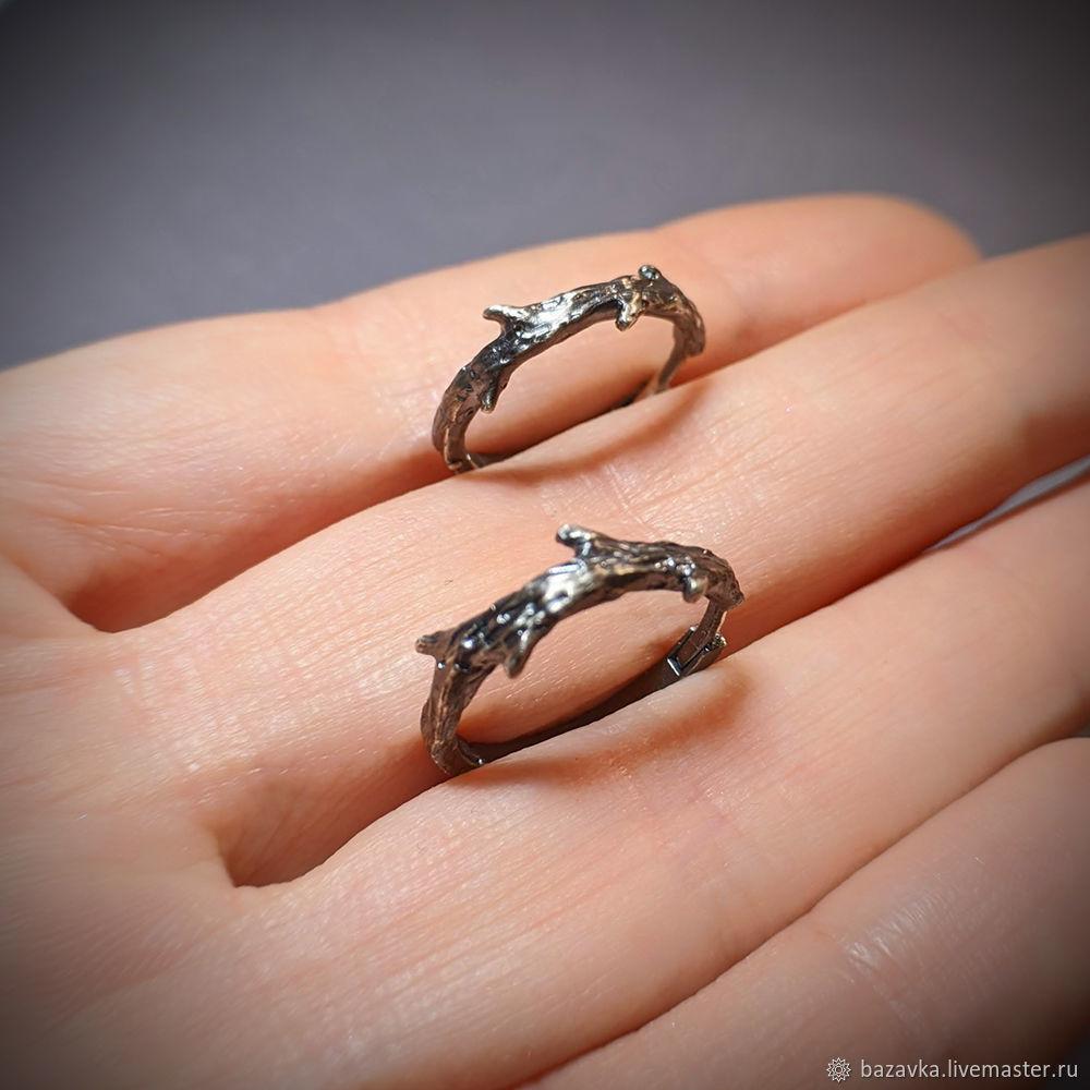 Серебряные серьги-кольца веточки, Серьги-кольца, Пенза,  Фото №1