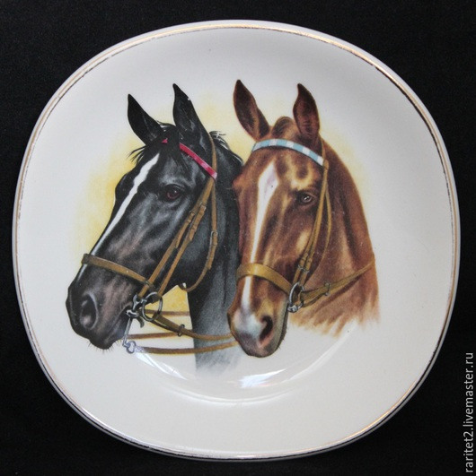 Винтажные предметы интерьера. Ярмарка Мастеров - ручная работа. Купить Тарелка панно конь лошадь пара Англия 55. Handmade.
