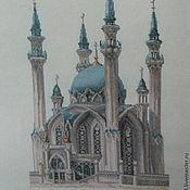 Картины и панно ручной работы. Ярмарка Мастеров - ручная работа Вышитая картина Мечеть Кул-Шариф. Handmade.