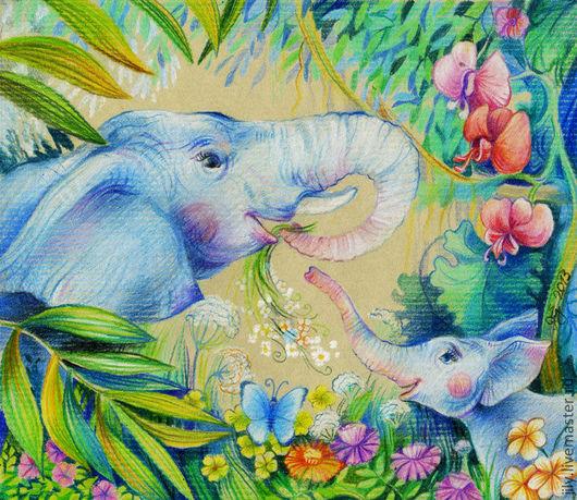 """Животные ручной работы. Ярмарка Мастеров - ручная работа. Купить Картина """"Вместе с мамой"""". Handmade. Слон, анималистика, экзотика, графика"""