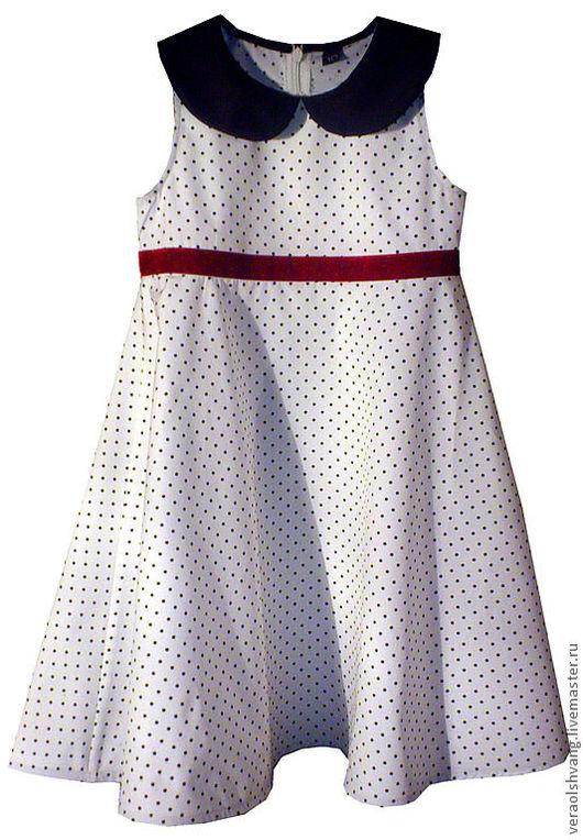 Одежда для девочек, ручной работы. Ярмарка Мастеров - ручная работа. Купить Классическое платье в горошек. Handmade. Белый, классический стиль
