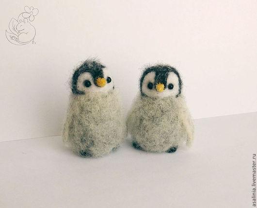 Игрушки животные, ручной работы. Ярмарка Мастеров - ручная работа. Купить Пухлые пингвинята. Handmade. Серый, кардочёс