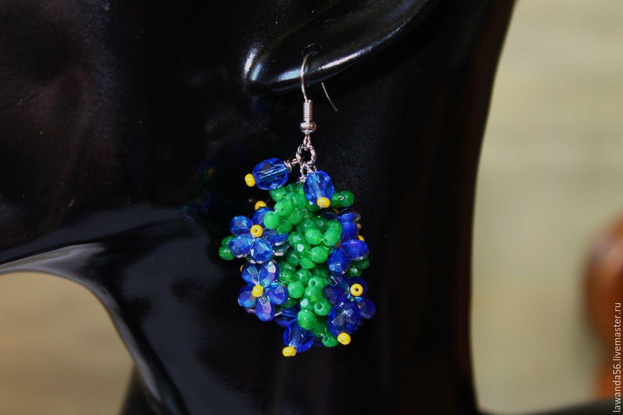 Earrings floral glass beads and sequins forget-me-nots, Earrings, Krasnoyarsk,  Фото №1