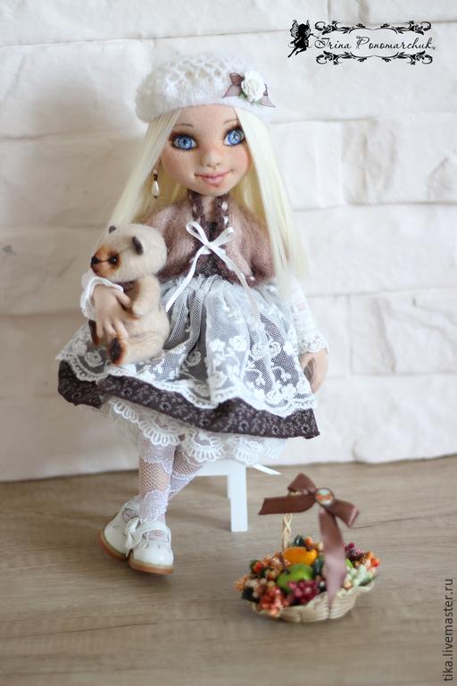 Коллекционные куклы ручной работы. Ярмарка Мастеров - ручная работа. Купить Ладушка. Handmade. Белый, подарок, трикотаж, корзинка плетёная