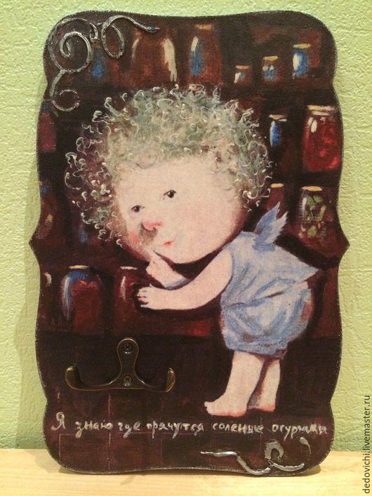 """Кухня ручной работы. Ярмарка Мастеров - ручная работа. Купить Панно-вешалка для кухни """"Я знаю где прячутся соленые огурчики"""". Handmade."""