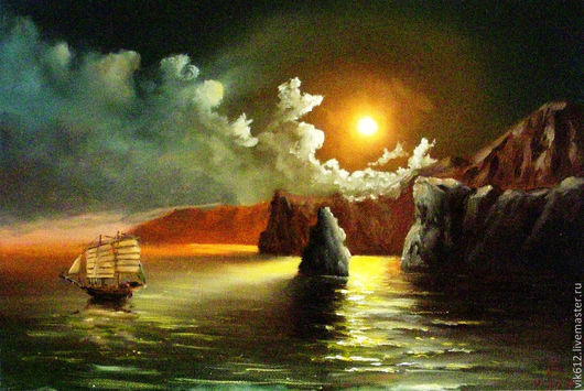 Пейзаж ручной работы. Ярмарка Мастеров - ручная работа. Купить Парус в ночи. Handmade. Картина, Картины и панно, морская тема