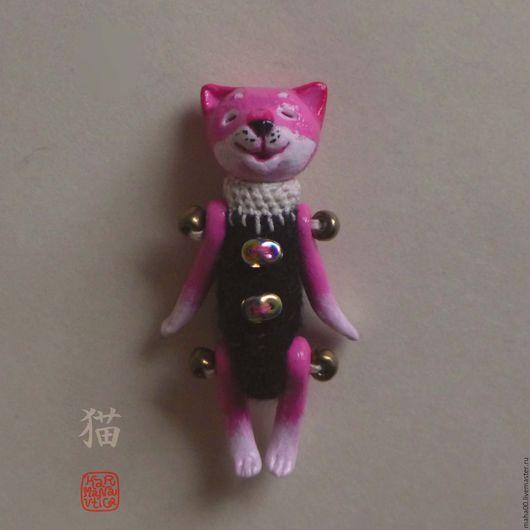 Игрушки животные, ручной работы. Ярмарка Мастеров - ручная работа. Купить Малый розовый кот, pink neko, сувенирная фигурка из полимерной глины. Handmade.