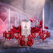 """Свадебный салон ручной работы. Ярмарка Мастеров - ручная работа Комплект: Бокалы и Очаг - """"Алая роза"""". Handmade."""