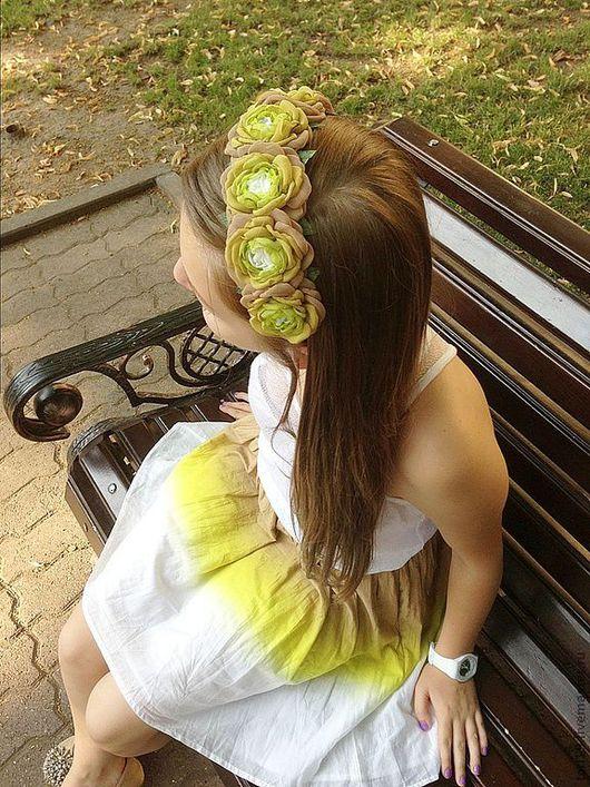 """Диадемы, обручи ручной работы. Ярмарка Мастеров - ручная работа. Купить Ободок для волос """"Цвет лета"""". Handmade. Ободок с цветами"""