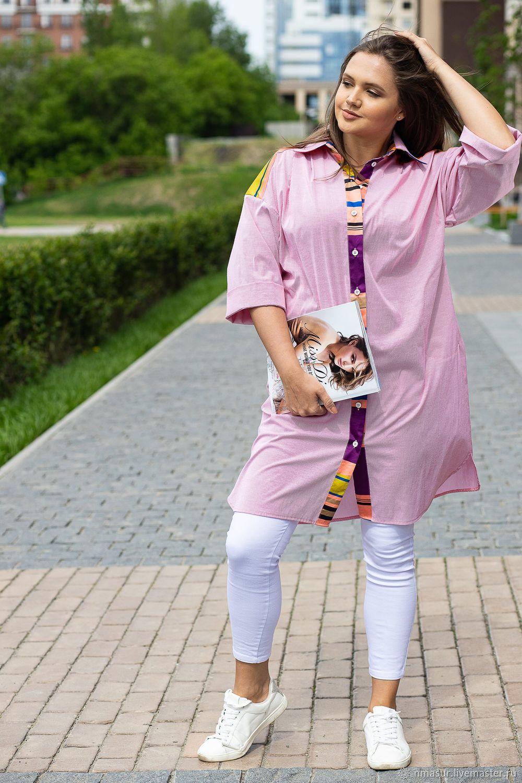 Авторское Платье рубашка хлопок красная полосочка, Платья, Новосибирск,  Фото №1