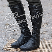 Обувь ручной работы handmade. Livemaster - original item Boots-Boots of leather with lacing Black. Handmade.