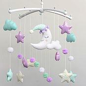 Работы для детей, handmade. Livemaster - original item Baby mobile unisex on the crib Moon Stars Clouds. Handmade.