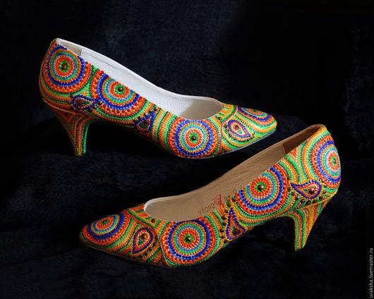 Обувь ручной работы. Ярмарка Мастеров - ручная работа. Купить Туфли Оригинальные круги. Handmade. Комбинированный, точечная роспись