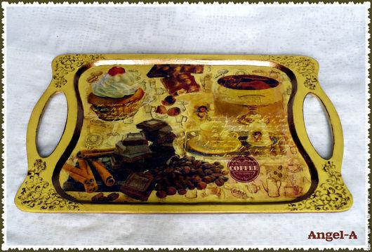 Кухня ручной работы. Ярмарка Мастеров - ручная работа. Купить Поднос Кофейный аромат. Handmade. Комбинированный, поднос из дерева