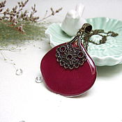 Украшения handmade. Livemaster - original item Pendant Burgundy rose with a Real Rose Petal Boho Jewelry Resin. Handmade.