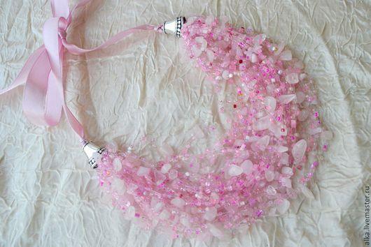 """Колье, бусы ручной работы. Ярмарка Мастеров - ручная работа. Купить Воздушное колье """" Розовое облако"""" с розовым кварцем. Handmade."""