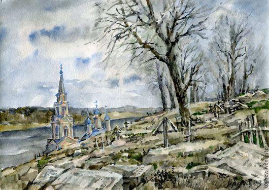 Пейзаж ручной работы. Ярмарка Мастеров - ручная работа. Купить Старое кладбище. Handmade. Разноцветный, церковь, кресты, зима, акварель