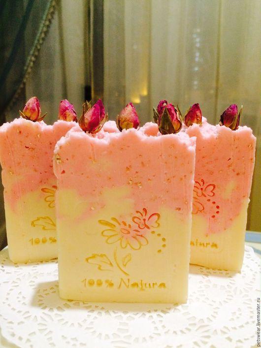 """Мыло ручной работы. Ярмарка Мастеров - ручная работа. Купить """"Сахарная Роза""""с геркулесом и Ши. Handmade. Бледно-розовый"""