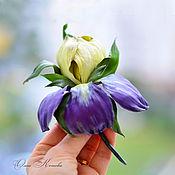 Украшения handmade. Livemaster - original item Flower brooch iris van Gogh Yellow and purple leather flowers. Handmade.