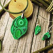Украшения ручной работы. Ярмарка Мастеров - ручная работа Зеленый комплект кулон и серьги, рваный край. Handmade.
