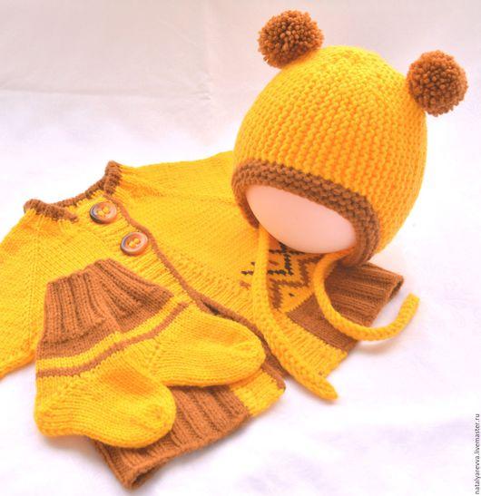 """Для новорожденных, ручной работы. Ярмарка Мастеров - ручная работа. Купить Комплект """"Осенний жаккардик"""". Handmade. Желтый, комплект вязаный"""