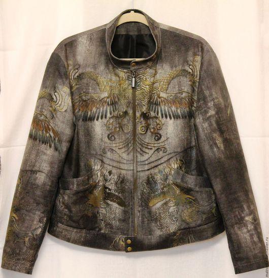 Для мужчин, ручной работы. Ярмарка Мастеров - ручная работа. Купить Куртка джинсовая мужская Драконы Роберто Кавалли. Handmade.