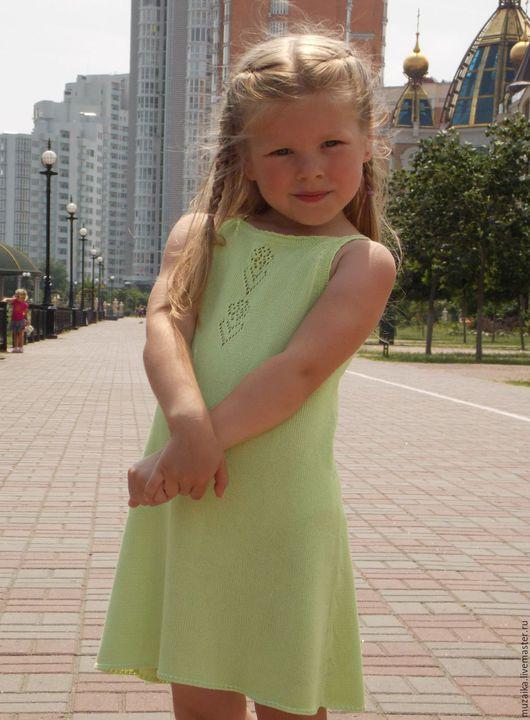 Одежда для девочек, ручной работы. Ярмарка Мастеров - ручная работа. Купить Вязаное платье для девочки Д1601. Handmade. Салатовый, трикотажное