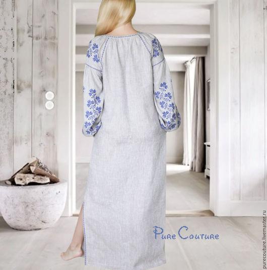 Платье в пол с вышивкой Макси платье из льна Бохо платье вышиванка Дизайнерское платье Бохо платье с вышивкой Богемное платье Вышиванка женская Длинное платье Льняное платье макси Сарафан летний