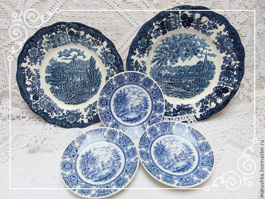 Винтажная посуда. Ярмарка Мастеров - ручная работа. Купить Английские  тарелки разных размеров, винтаж. Handmade. Тёмно-синий, монохромный