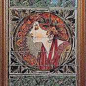 Картины и панно handmade. Livemaster - original item Painting ceramic Painting tile Murals, the tile And. Mucha Ivy. Handmade.