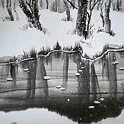 Картины ручной работы. Ярмарка Мастеров - ручная работа Картина Зимний пруд 40x50 японская живопись суми-э  тушь снег лес вода. Handmade.