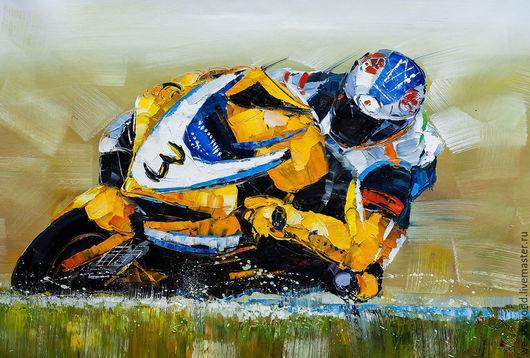 """Люди, ручной работы. Ярмарка Мастеров - ручная работа. Купить Картина маслом """"Желтый цвет для лидера"""" (Серия """"Мотоциклы""""). Handmade."""