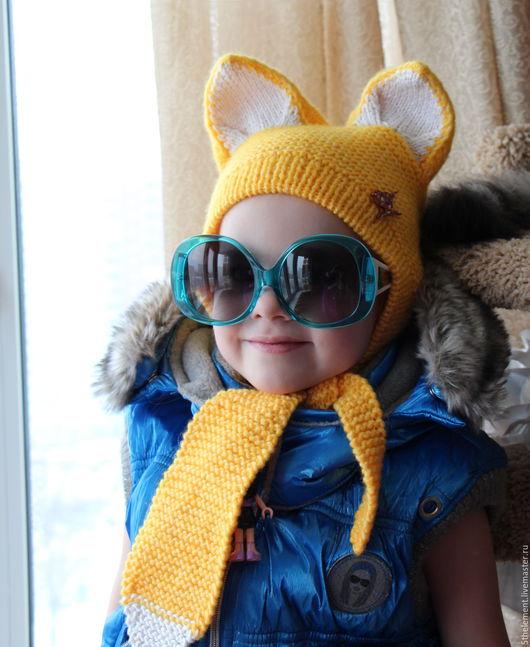 """Шапки ручной работы. Ярмарка Мастеров - ручная работа. Купить Шапочка """"Хитрюга"""". Handmade. Желтый, шапочка детская, вязание для детей"""