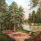 Картины и панно ручной работы. Ярмарка Мастеров - ручная работа Вышитая гладью картина Озеро в сосновом лесу. Handmade.