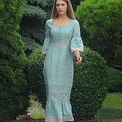 Одежда handmade. Livemaster - original item Elegant midi dress with author`s embroidery